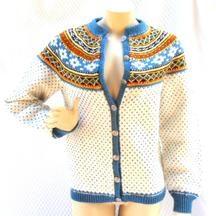 Sweater norwegian wool hand knit pewter buttons cardigan sweater