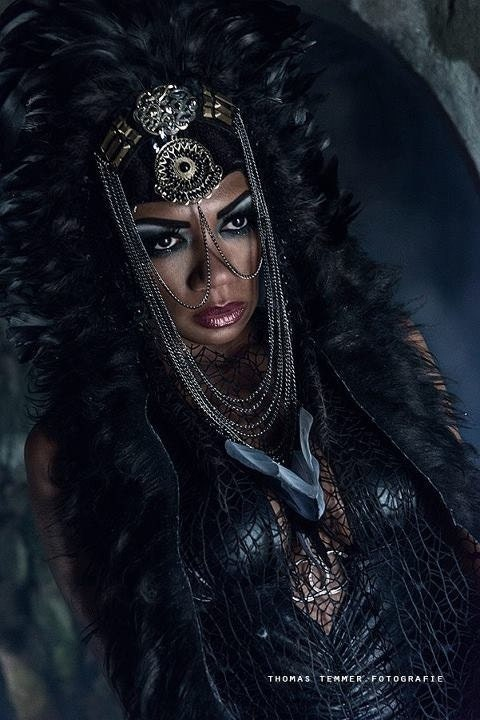 MADE TO ORDER Dark goddess Fringe Geisha Furry Black Goth Vampire Lady gaga  Fantasy headdress headpeice wig - PoshFairytaleCouture