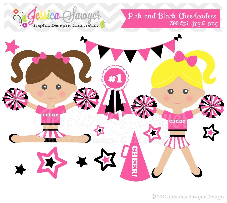 INSTANT DOWNLOAD pink cheerleader clip art by JessicaSawyerDesign