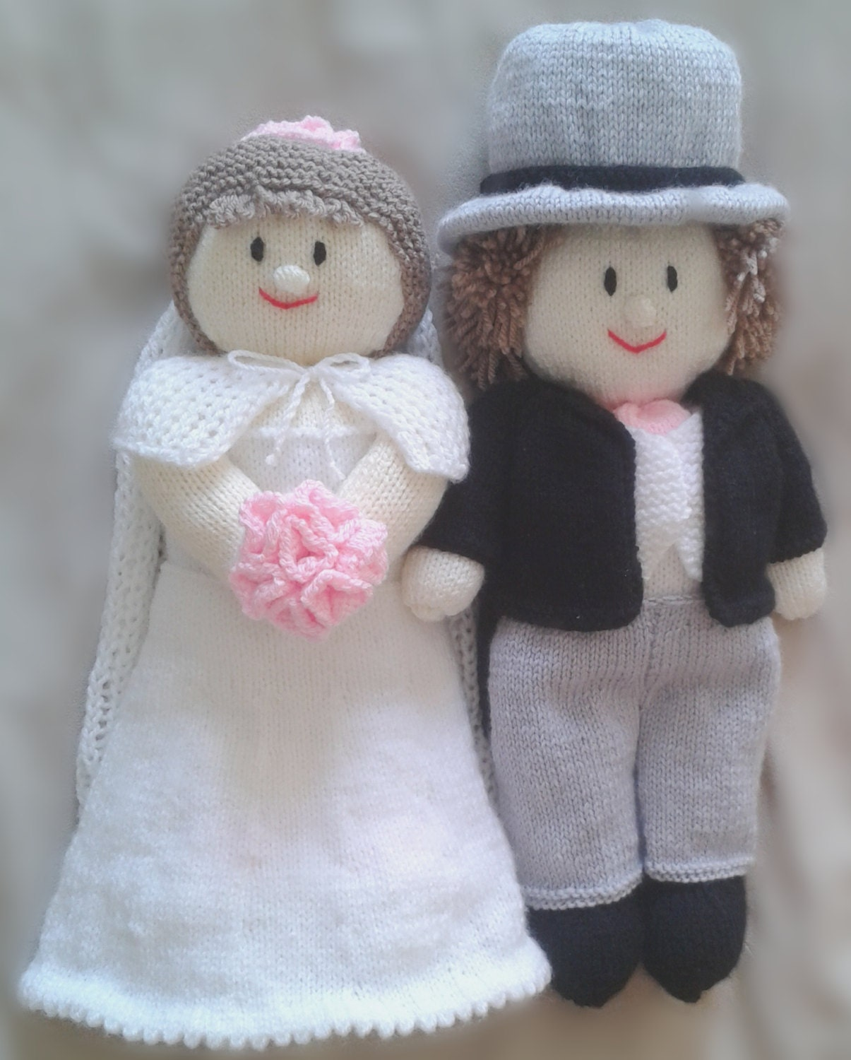 Bride and Groom Wedding Doll Knitting Pattern by KnittingByPost