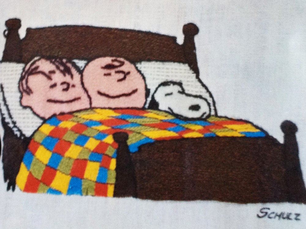 Vintage PEANUTS Crewel Embroidery Kit 60s 70s Charlie Brown Linus Snoopy Bed Together Charles Schultz Design Kids Room Decor Craft Project - elliemayhems