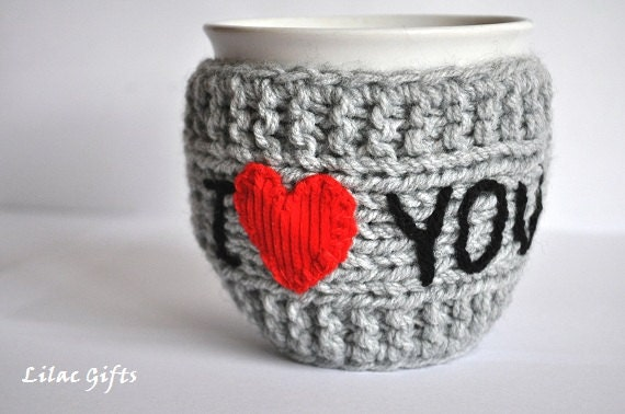 Mug Cozy I Love you, Personalized Mug Cozy, any color, any word, red heart, grey color, Mothers day, Valentines day - LilacGifts