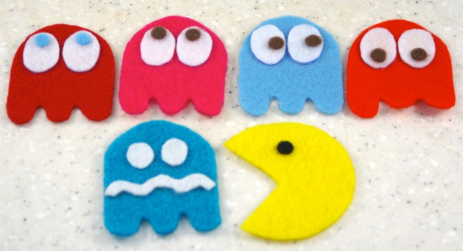 Pacman and Ghost Felties - mspacmanpinky