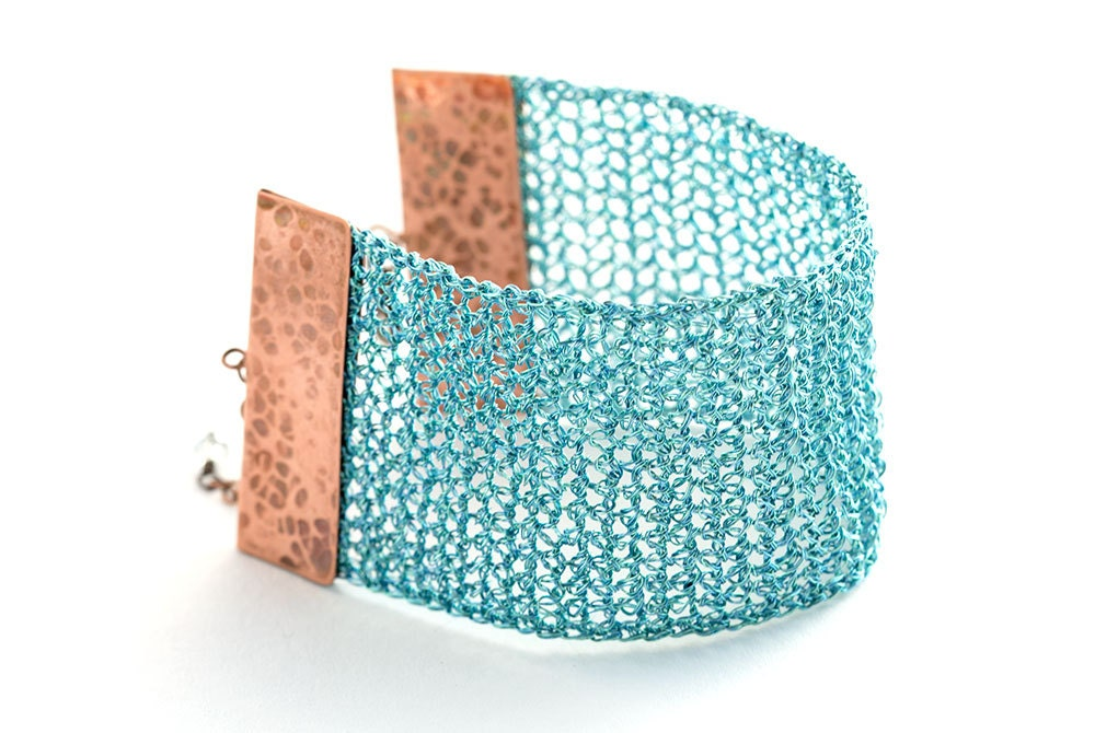 wire crocheted bracelet, handmade with handcrafted copper end-cap, very lightweight and unique jewelry - goodrun
