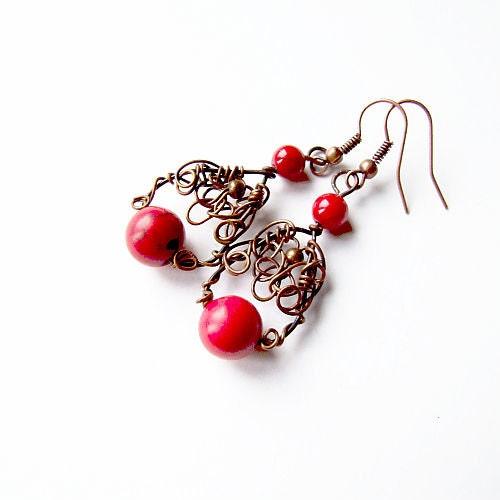 love earrings - red howlite copper wire wrapped dangle earrings - KicaBijoux