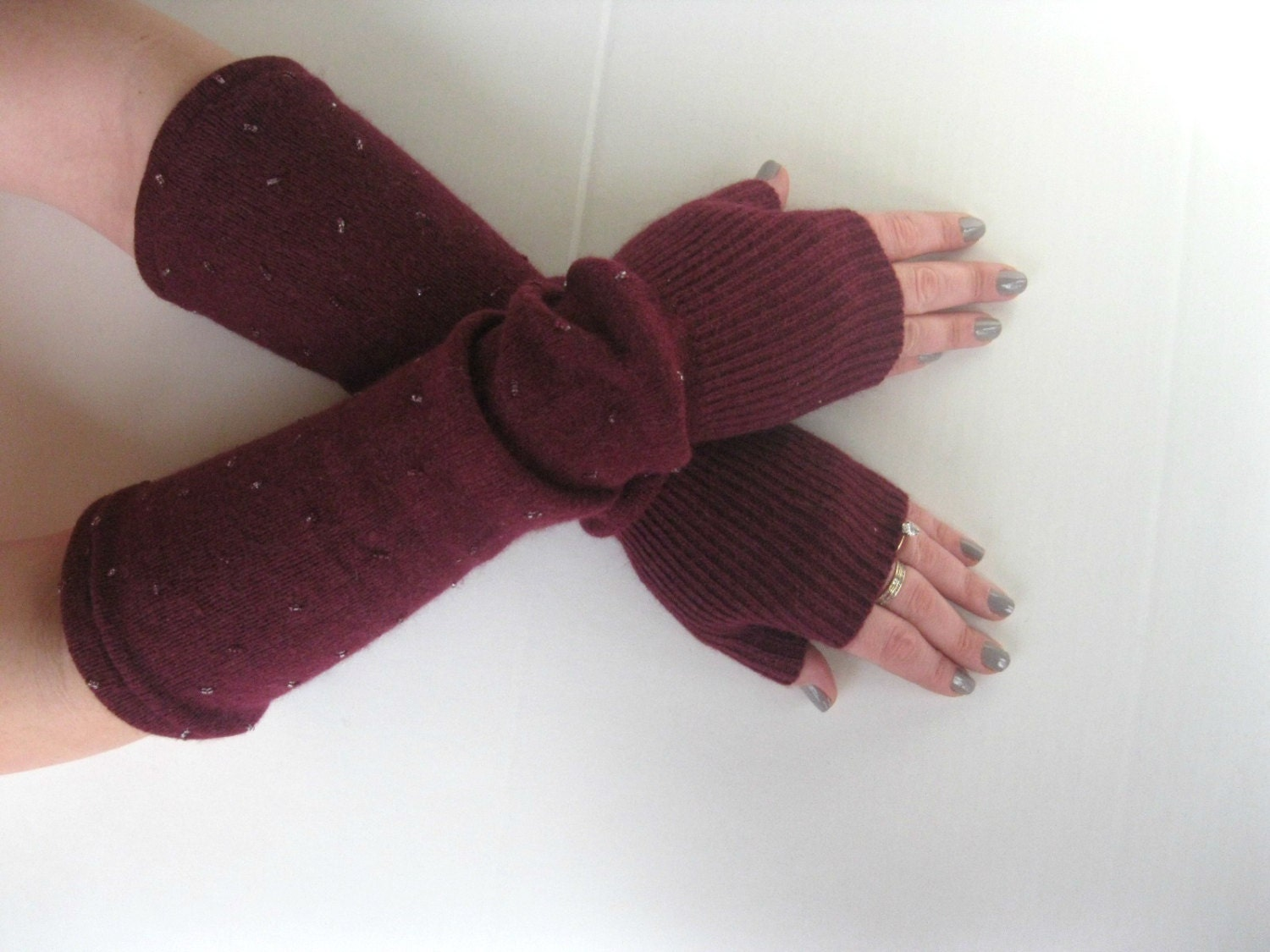 Beaded Wool Fingerless Gloves - Angora Wool Blend in Oxblood Burgundy Texting Gloves Arm Warmers : Upcycled Recycled Repurposed Eco Friendly - SewEcological