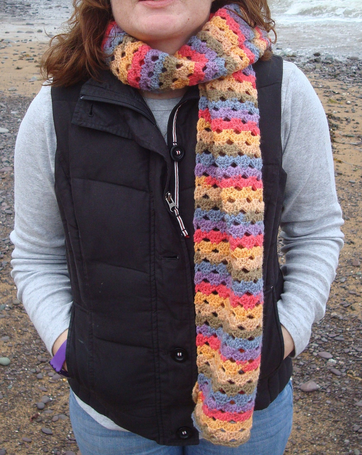 Rainbow Crochet Scarf Handmade in Ireland by SelkieCrochet on Etsy Handmade Scarves Ireland