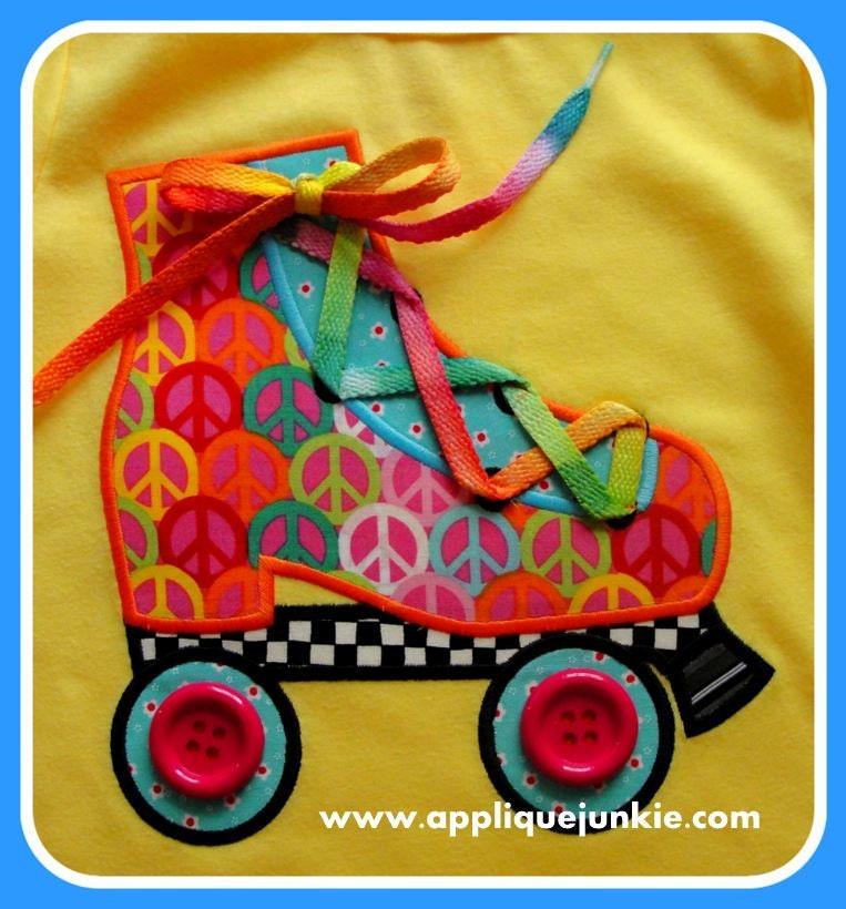 Roller Skate Applique Design by JazzyZebraDesigns on Etsy
