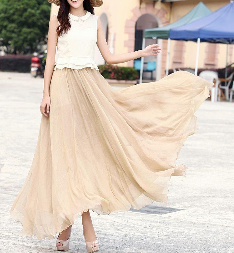 chiffon skirt maxi skirt wedding skirt by