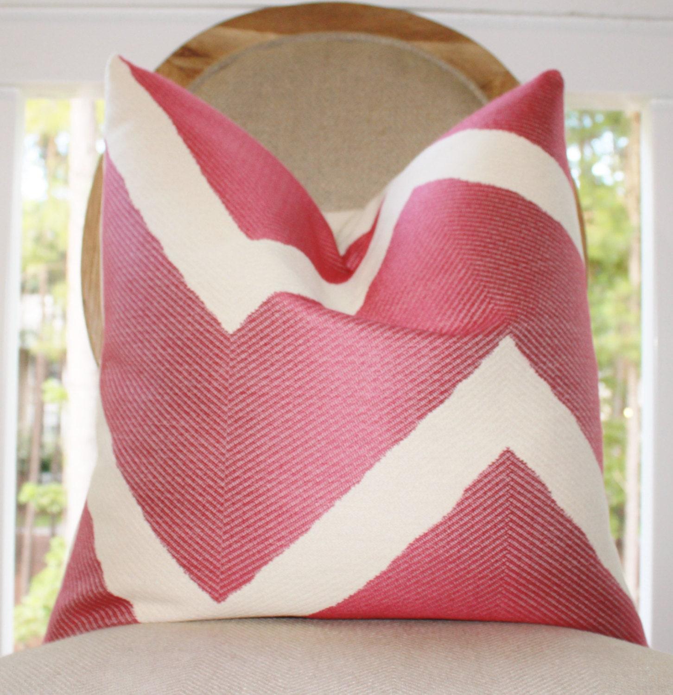 Fuschia Modern Pillows : Designer Pink Pillow Cover Rasbperry Geometric by MotifPillows