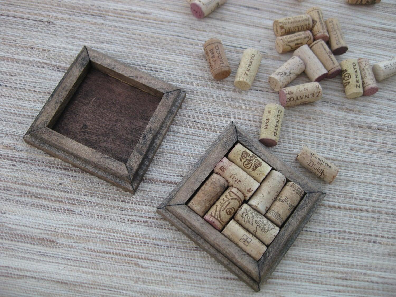 wine cork coasters diy set of 2 dark brown on by thewoodenbee. Black Bedroom Furniture Sets. Home Design Ideas