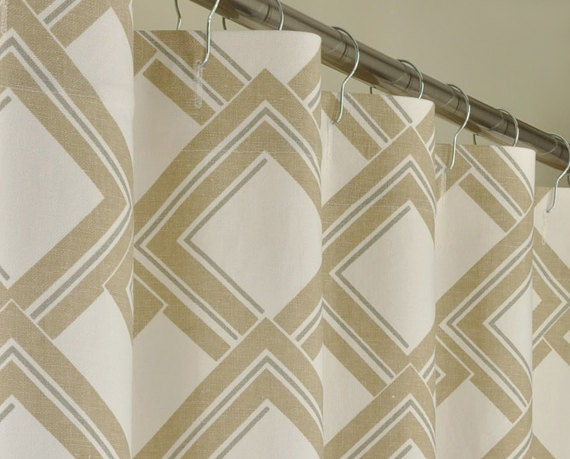 Beige Geometric Shower Curtain 72 X 78 Long By Pondlilly On Etsy