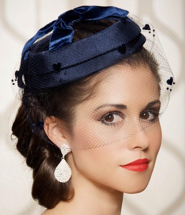 Navy Blue Wedding Hat Bridal