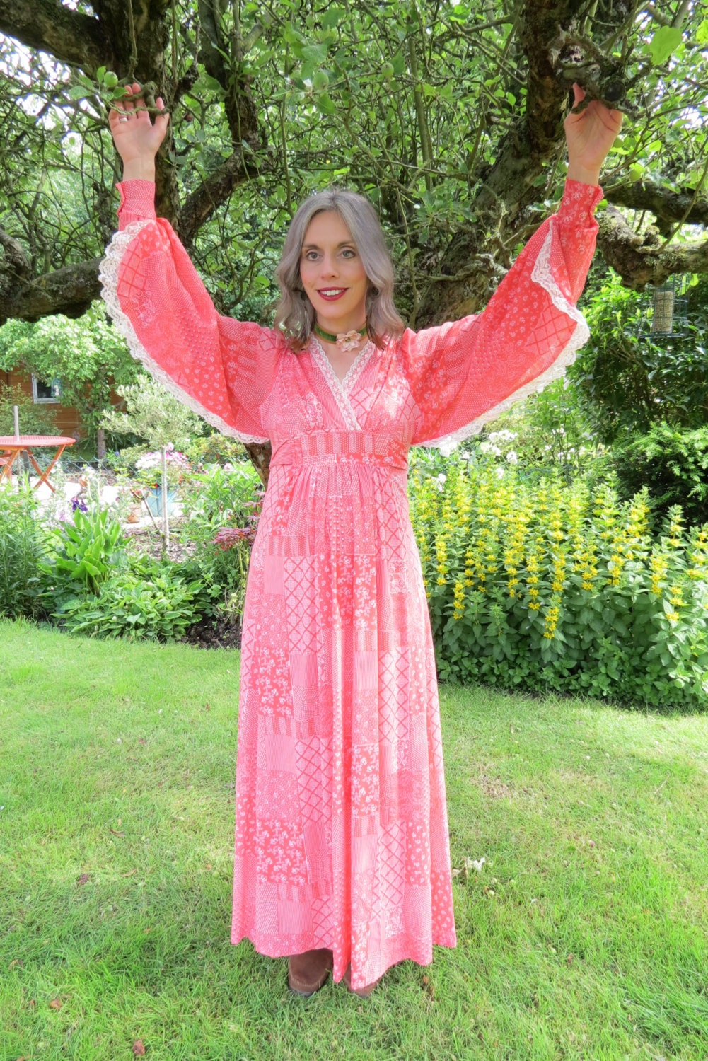 Vintage 1970s Orange Maxi Dress with Balloon Sleeves and Lace Trim Small