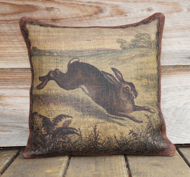 Items similar to Bunny Pillow Cover, Woodlands Throw Pillow, Rustic Cushion, Burlap, Jute ...