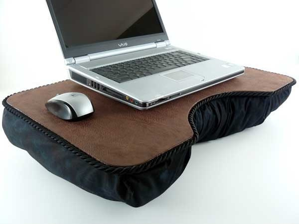 Large Brown Faux Leather Laptop Lap Desk With Black By