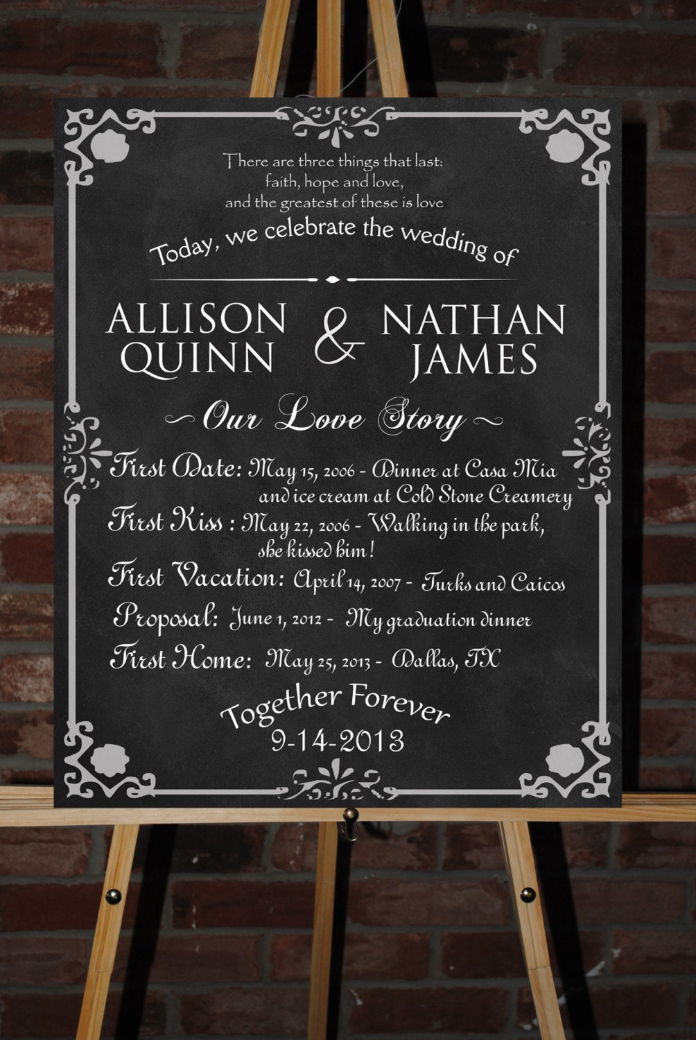 Custom Printable Wedding Board Poster
