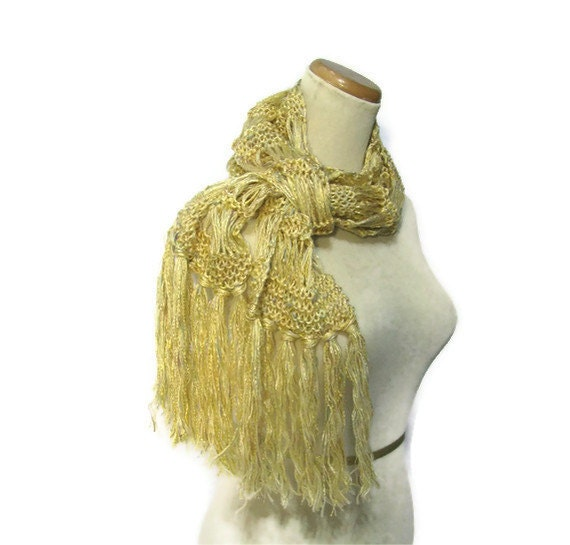 Honeysuckle Hand Knit Scarf Gold Yellow