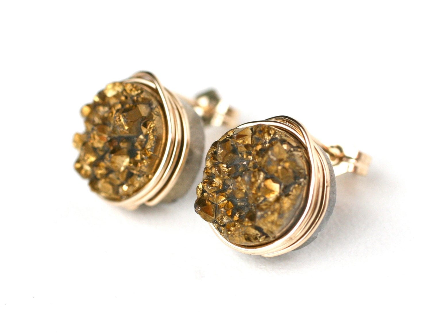 Gold Rush Druzy Quartz Stud Earrings Wire Wrapped Post 14k Gold Filled - Gift for Her, Under 25 dollars