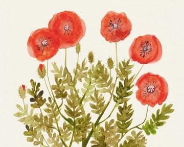"Red Poppies Print 8""x10"" - Flower Wall Art, Botanical Artwork, Poppy Art"
