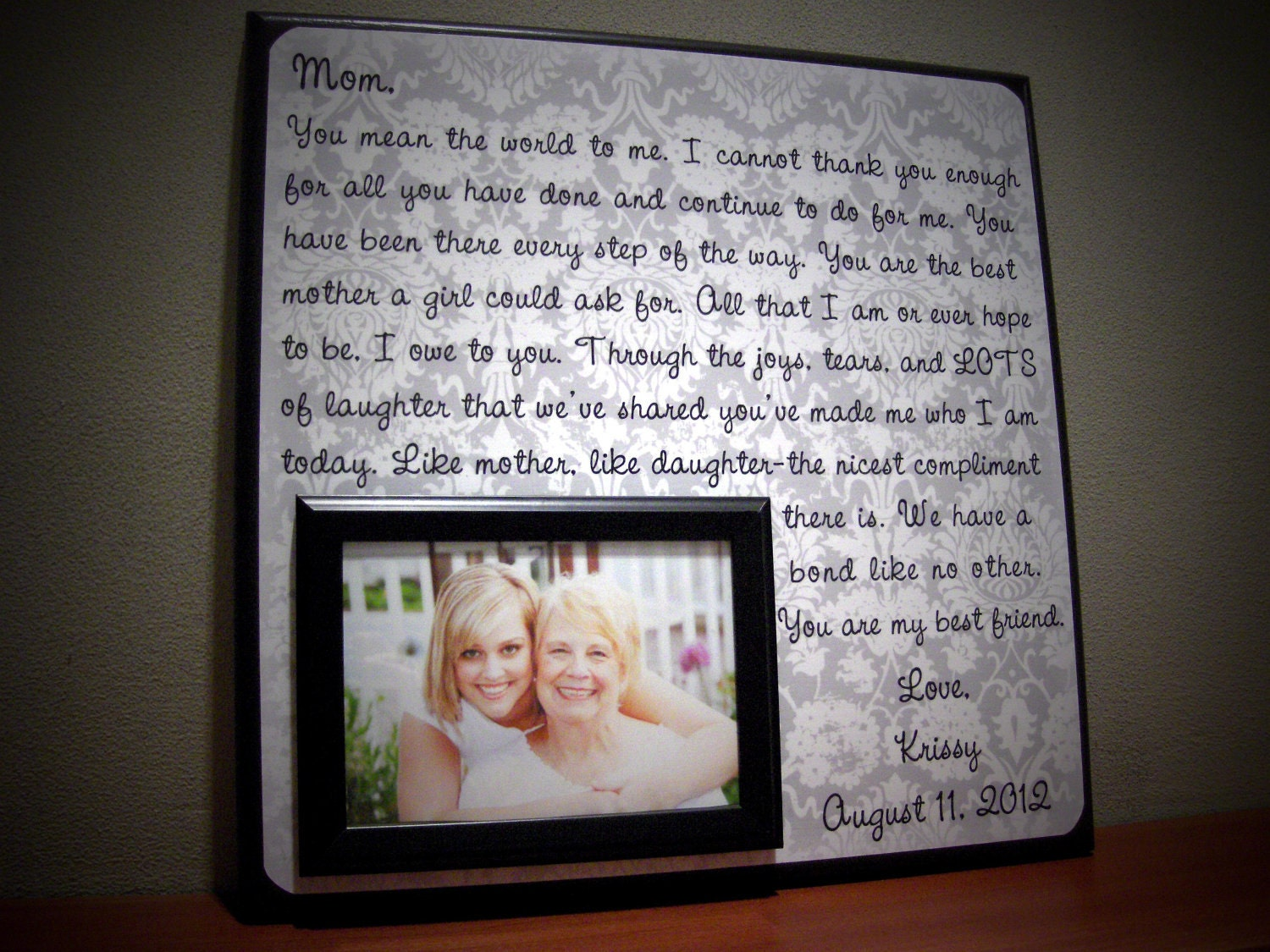 Wedding Present For My Mom : Personalized MOTHER of THE BRIDE Wedding Frame by YourPictureStory