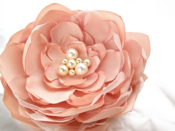 "Peach Silk Satin and Organza Peony ""Phoebe"" Fascinator, brooch, sash, headband, clip with turned edges and pearl cluster center"