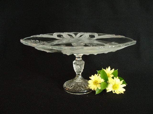 Wedding cake plate.  Wedding pedestal cake stand.  Repurposed glass cake stand.  Wedding decor.