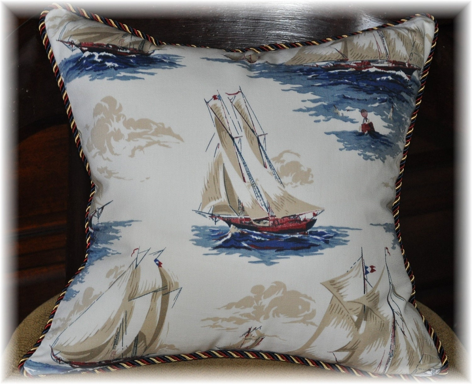 Decorative Accent throw pillow sailboat nautical by KOdesigning