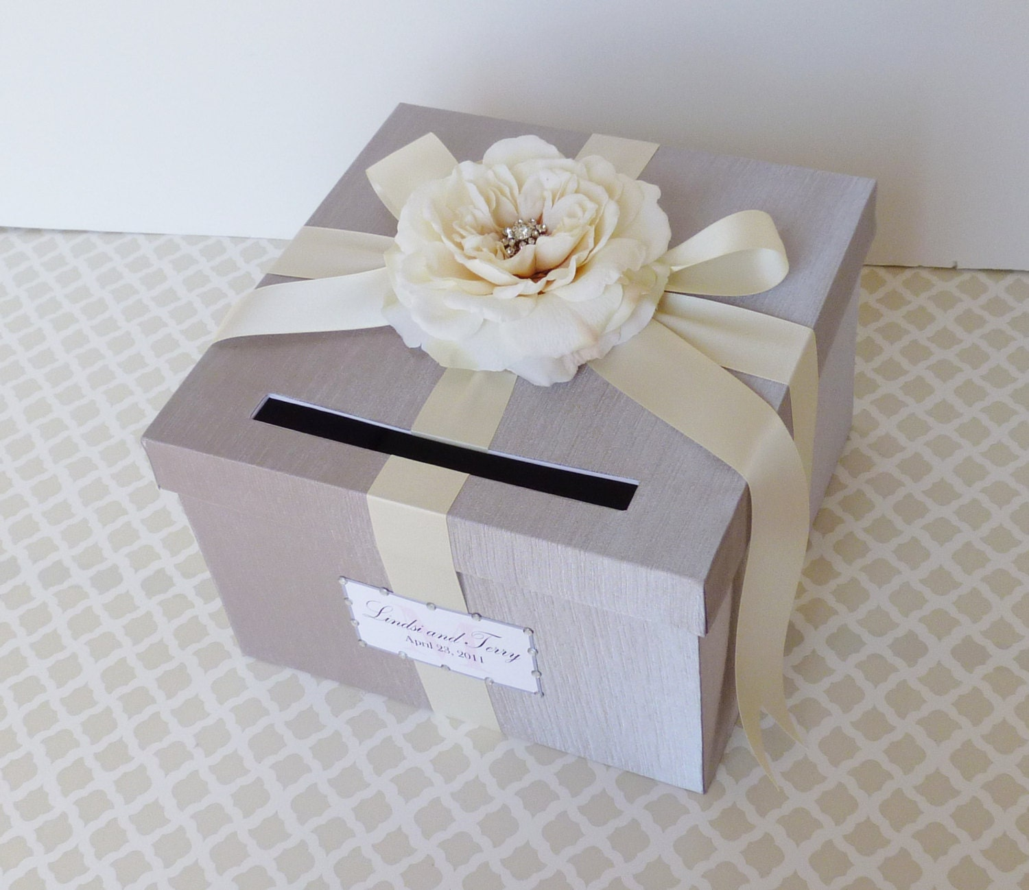 Silver Wedding Gift Card Holder : Wedding Card Box Silver Ivory Money Holder Customize in ANY Color and ...