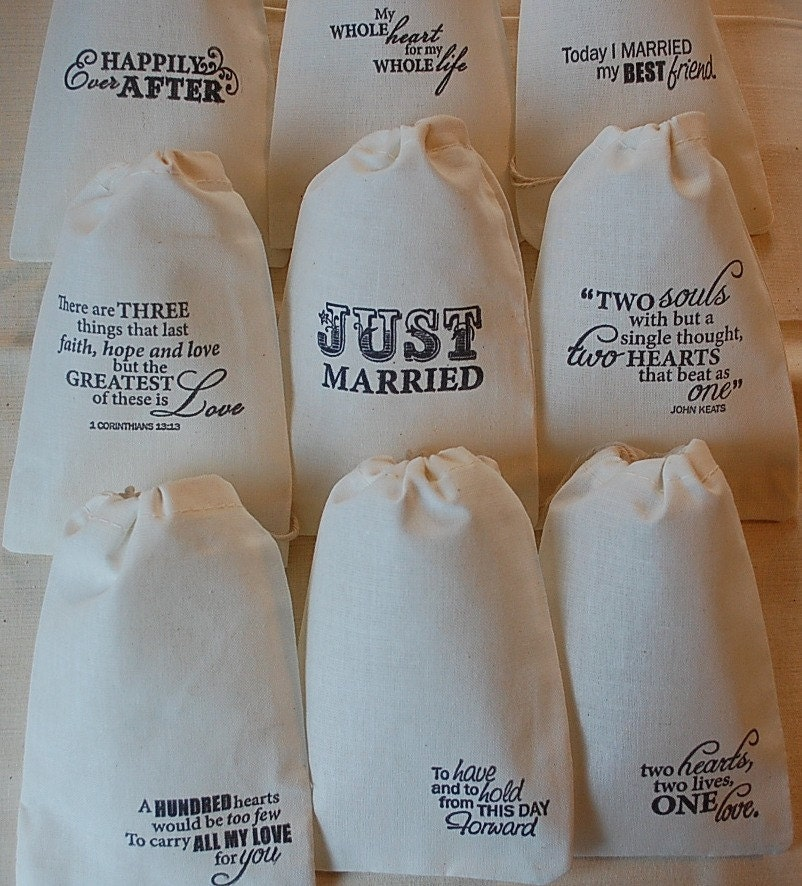 Wedding Gift Bag Sayings : ... of my Wedding Love Sayings Organic Muslin Cotton Favor Gift Bags 4x6