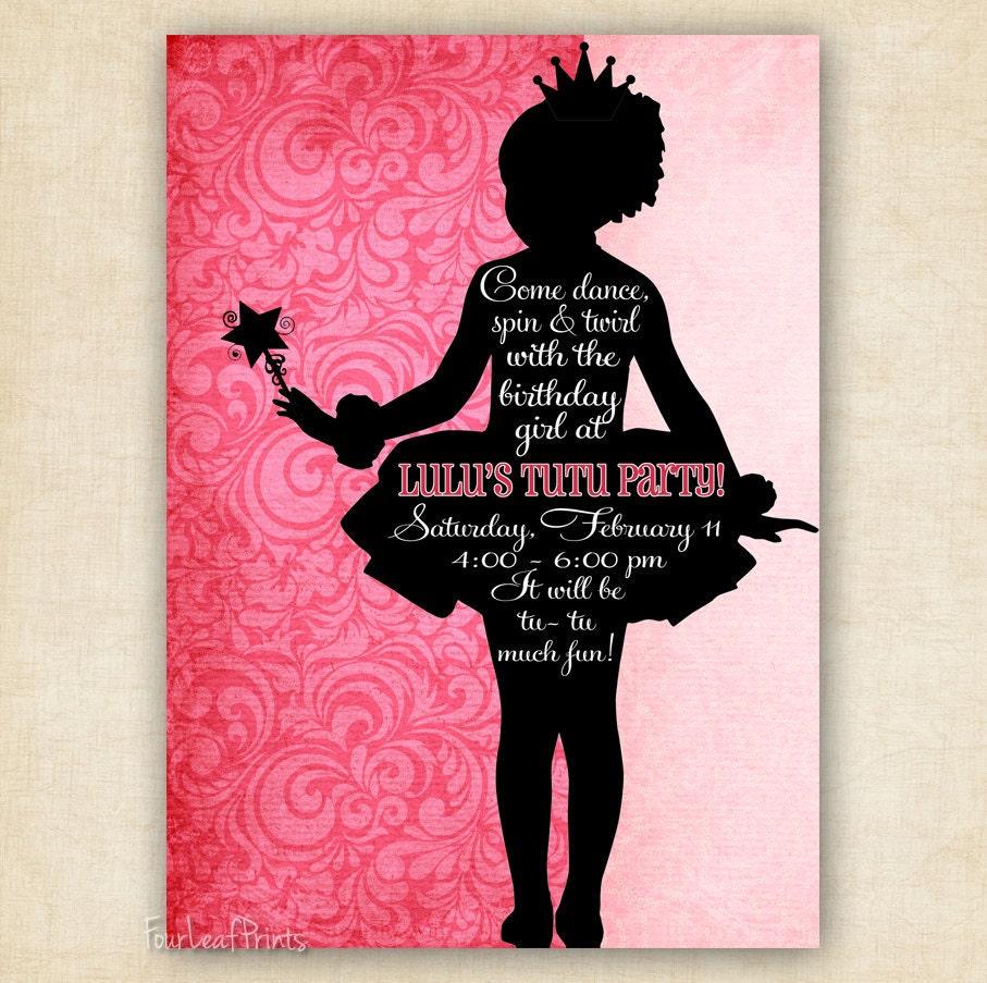 Ballerina Tutu Silhouette Birthday Invitation by ...