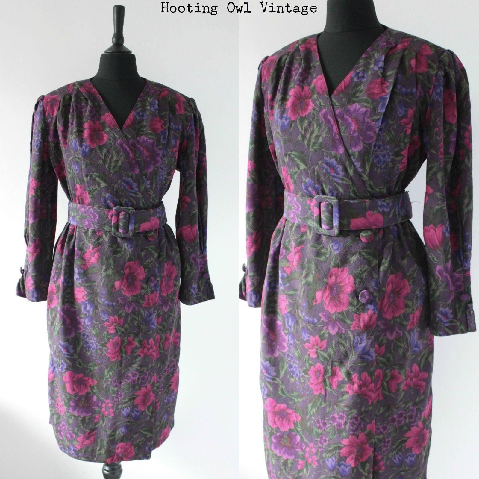 1980s Vintage Party Dress 80s Floral Dress 1940s Landgirl ww2 revival Style Tea Dress. Structured Floral Dress uk 12 m medium