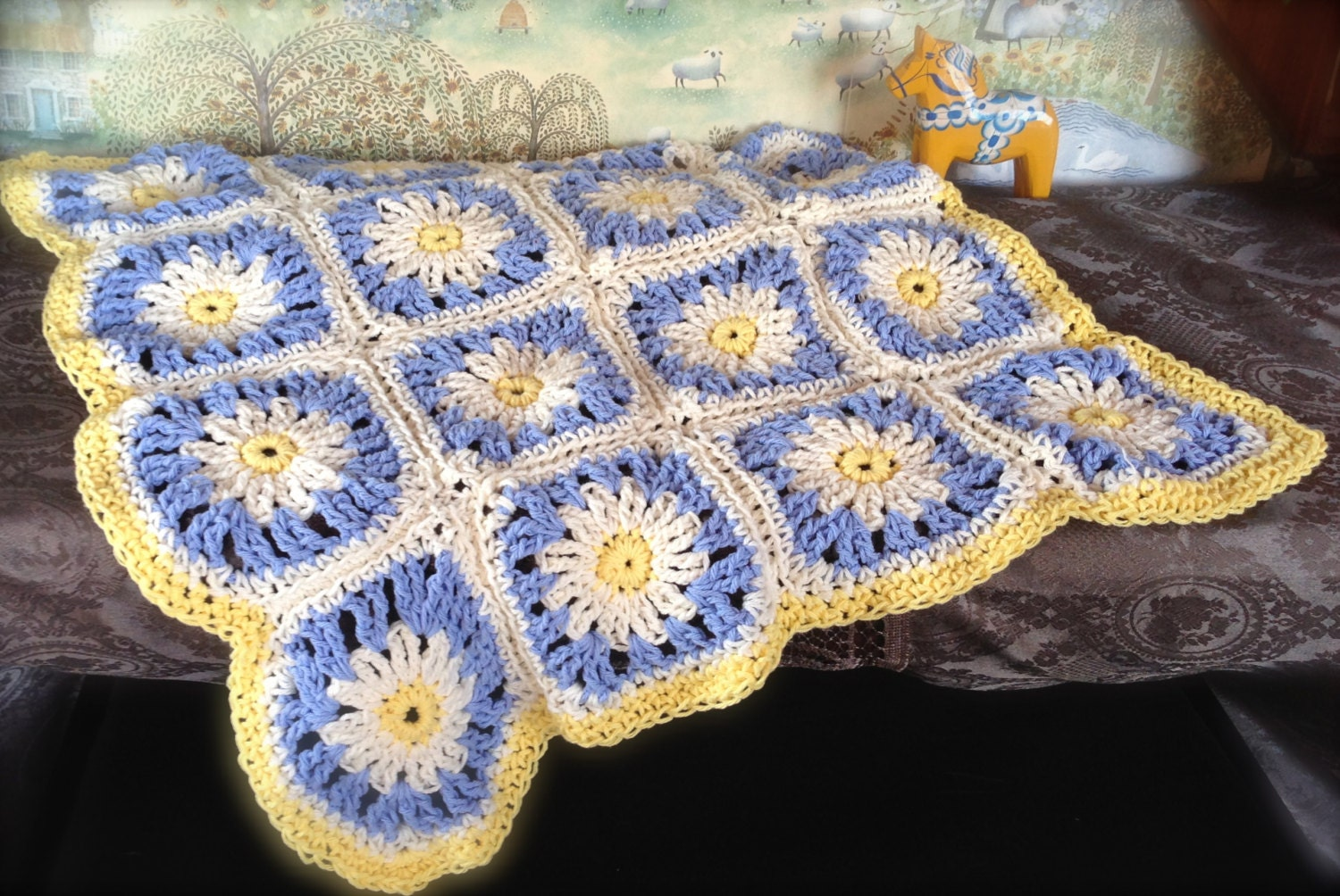 Items similar to Baby Blanket Pattern Crochet Daisy a Day ...