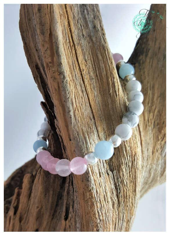 Fertility and Pregnancy Bracelet Aquamarine Rose Quartz and Howlite  TTC IVF ICSI Gift