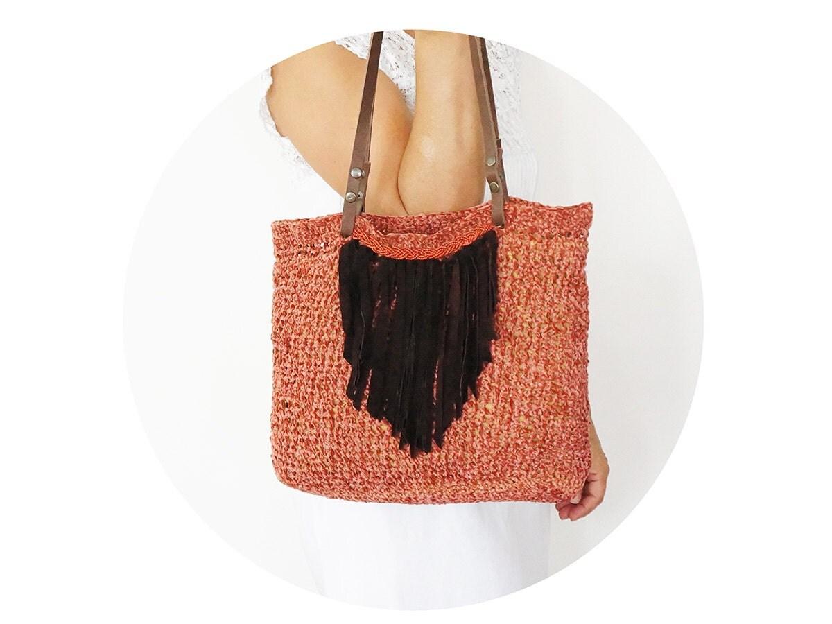 Coral velvet shoulder bag  with Genuine Leather Handles Leather Fringe Boho - Sudrishta