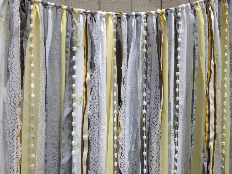 Grey Yellow Fabric Garland Wedding Backdrop - Vintage Flair - Curtain ...