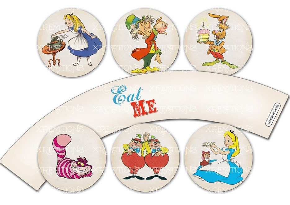 Alice in wonderland themed party circles for by pinkpapertrail for Alice in wonderland tags template