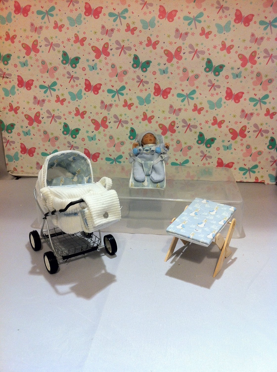 Dolls House Miniature OOAK Modern Carry Cot Baby Nursery Set Beatix Potter themed