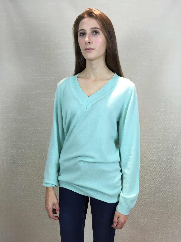 Mint 100 Pure Cashmere Women V neck Long Line Tunic Jumper Sweater