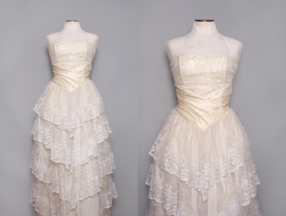 3 Tiered Lace Wedding Dress : Tiered lace wedding dress off white strapless by