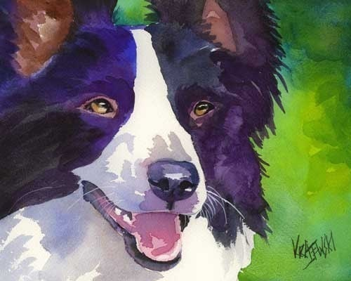 Border Collie Art Print of Original Watercolor Painting - 8x10 Dog Art - dogartstudio