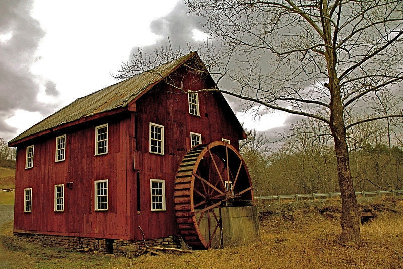 Country Photography, Rustic Decor, Watermill, Red, Brown, Dark Red, Rustic, Country Decor, West Virginia - APCphotocreations