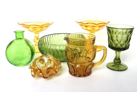 Autumn Colors Vintage Glass Collection Green Yellow