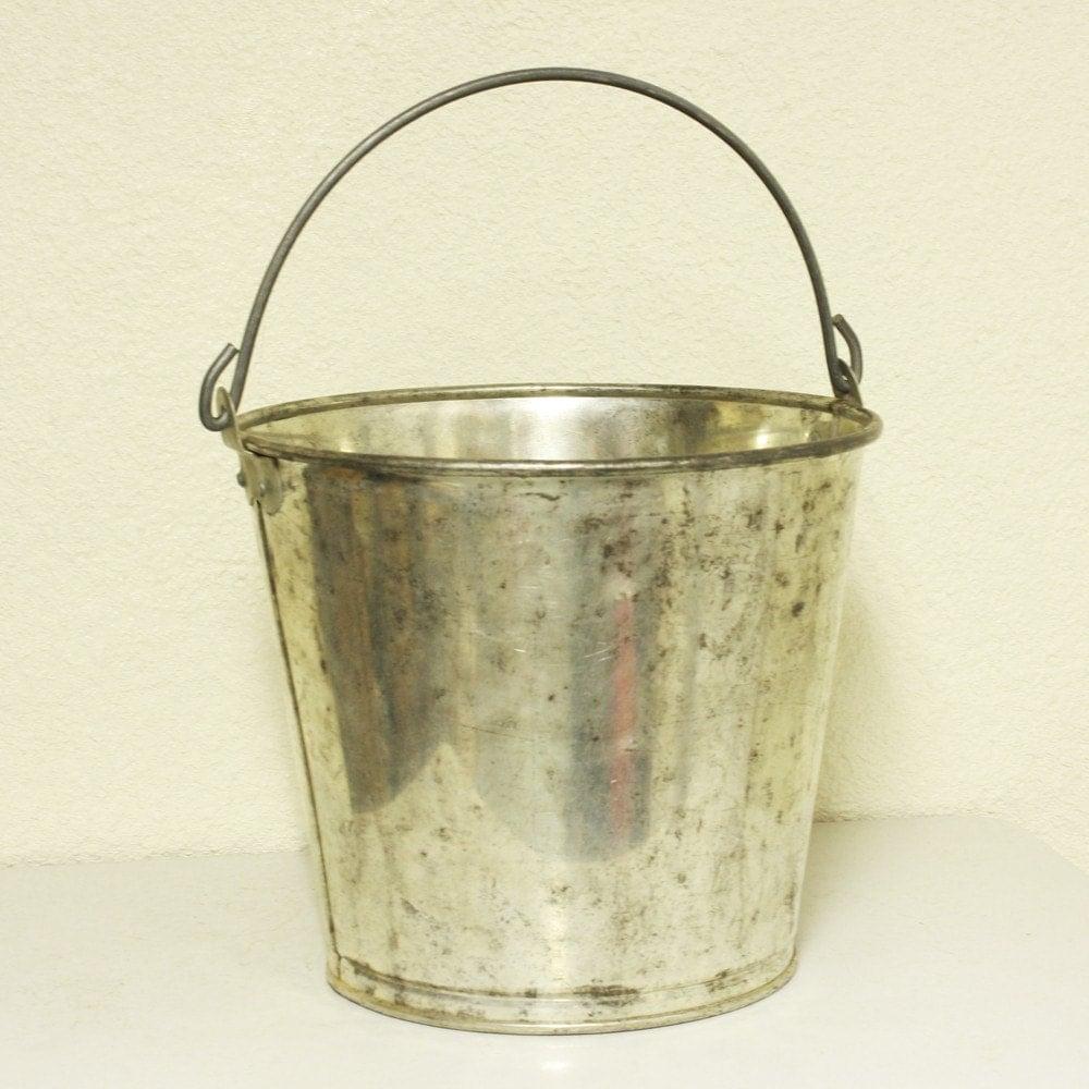Vintage metal bucket pail milk bucket by oldcottonwood on etsy for Old metal buckets