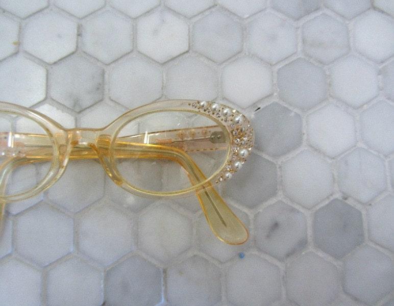 1950s eyeglasses . vintage 50s eye glasses . rhinestones and pearls - BlueFennel