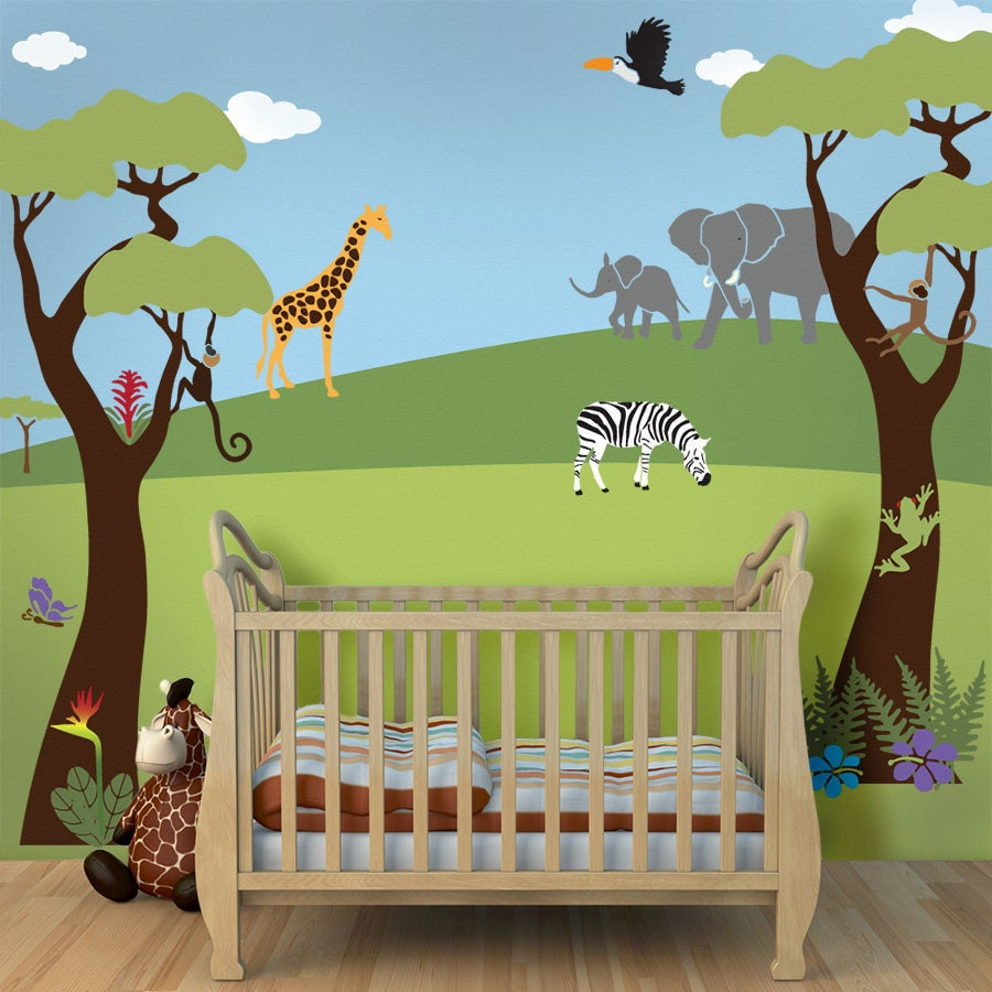 Jungle wall mural stencil kit for baby nursery by for Baby jungle mural