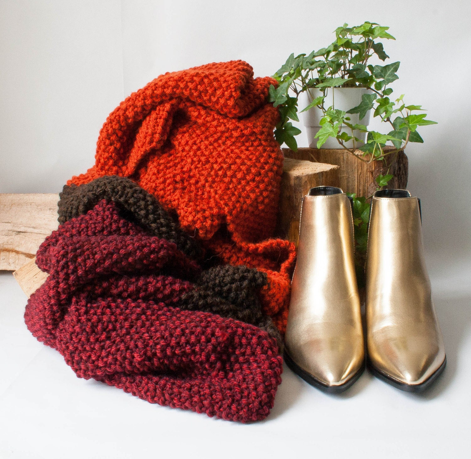 Phoenix. Alpaca and wool knit scarf in auburn chocolate and burgundy.