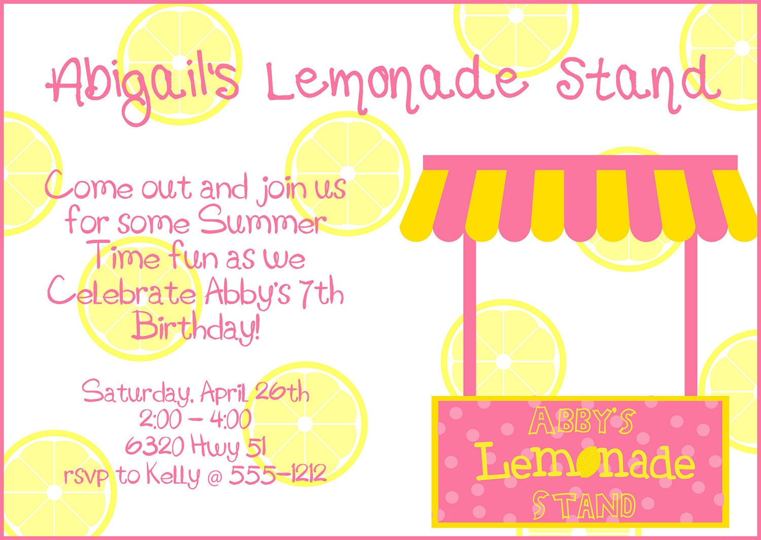 Pink yellow lemonade stand birthday party by for Rsvp stand for on an invitation