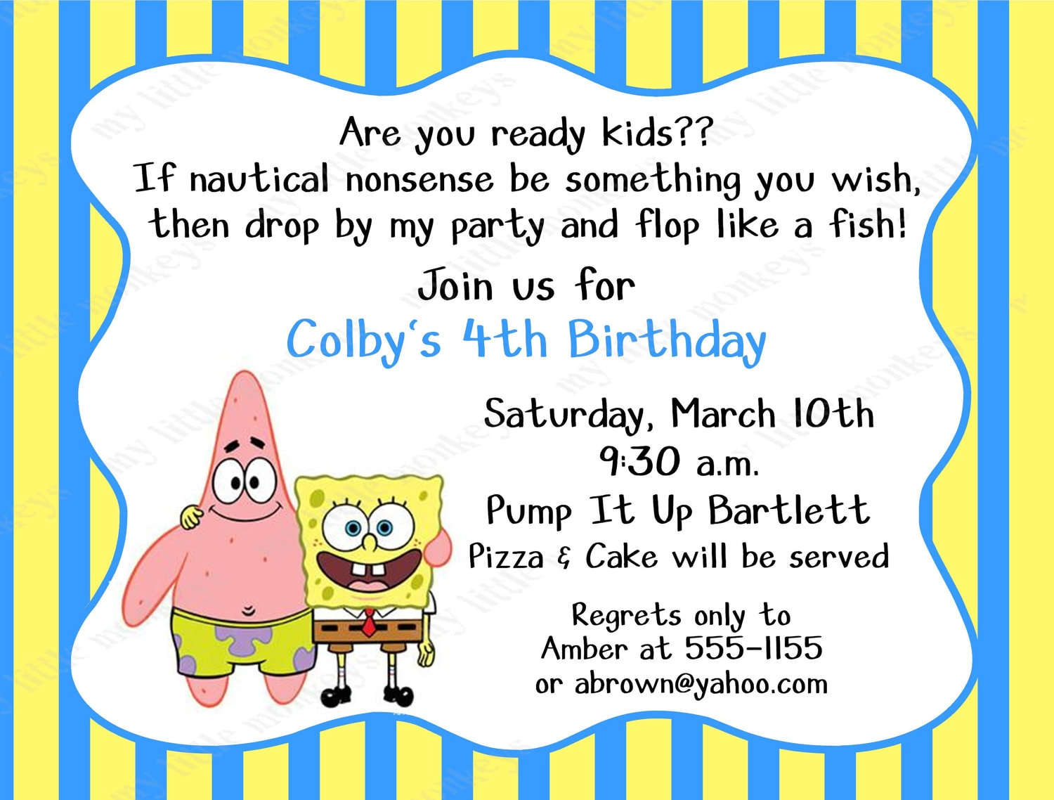 40th Birthday Ideas Spongebob Birthday Party Invitation Templates