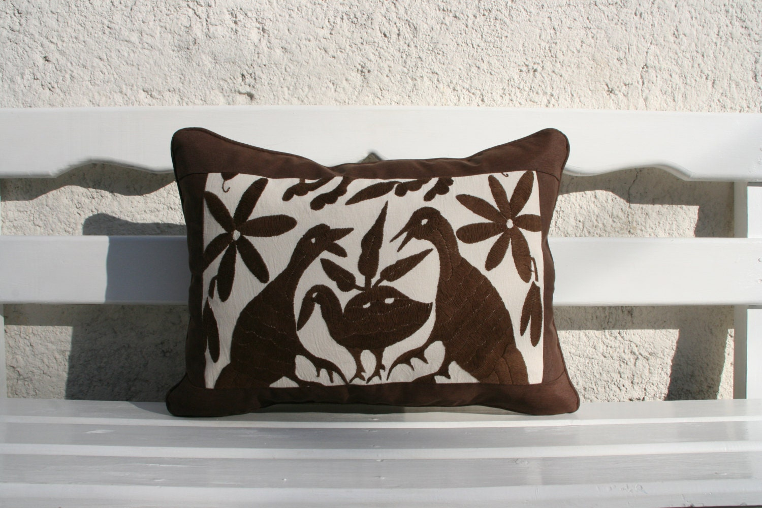 Expresso Brown Otomi Cushion with espresso framing-Ready to ship - CasaOtomi